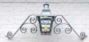 "Chrome plated French Quarter Lantern on a ""Double Scroll"" Mustache"
