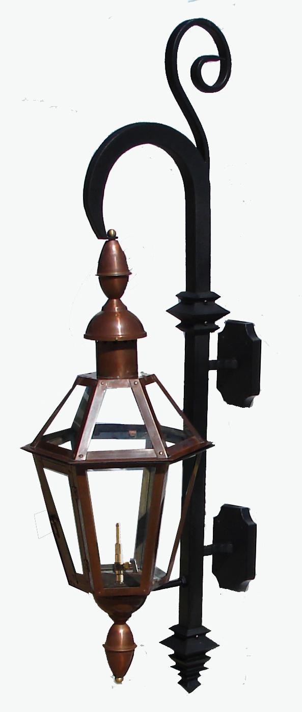 6-Sided French Quarter Lantern on Swan Bracket