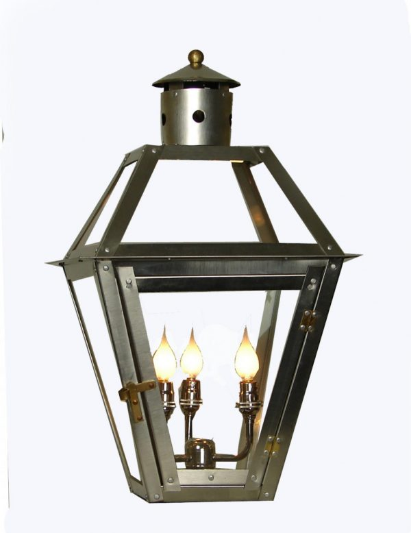 French Quarter stainless steel lantern - stainless triple candelabra