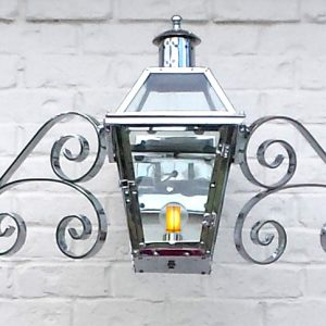"""Chrome plated French Quarter Lantern on a """"Double Scroll"""" Mustache"""