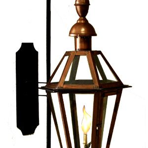 Six-Sided French Quarter Lantern with Church Top and Bottom Finials on Premium Full Scroll Bracket