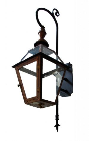French Quarter Lantern with Church Top Finial - Mini Swan Bracket