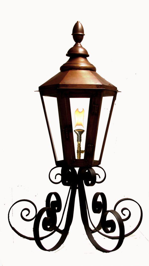 "Six Sided London Street Lantern on Custom ""Super-Scrolled"" Column Mount"