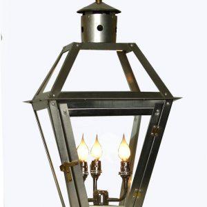 French Quarter stainless steel lantern - stainless triple candelabra